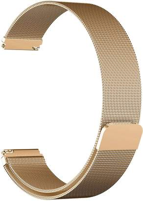 Rykimte 18mm Universal Smart Watch Bands Stainless Steel Metal Wristband Wrist Bracelet Band Clasp Replacement Strap With Fully Magnetic Closure Clasp Mesh Loop For Huawei Watch