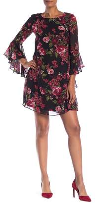 Nine West Cascading Floral Print Shift Dress