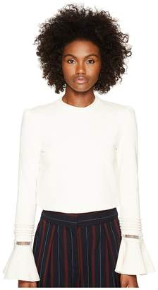See by Chloe Fleece and Lace Bell Sleeve Long Sleeve Women's Clothing