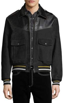 Givenchy Smooth Leather & Suede Bomber Jacket