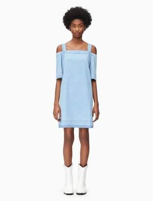 Calvin Klein light wash cold shoulder denim dress
