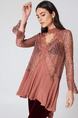 Free People New Tell Tale Lace Long Sleeve Tunic Dusty Mauve