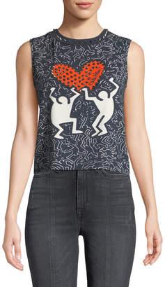 Alice + Olivia Keith Haring x Cicely Studded Sleeveless Tee