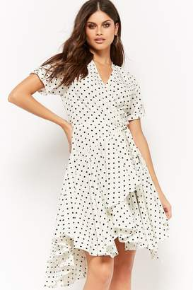 Forever 21 Polka Dot Surplice High-Low Wrap Dress