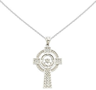 Celtic Generic 14k White Gold Claddagh Cross Pendant w/ 18in chain