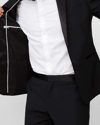 Express Extra Slim Black Wool-Blend Performance Tuxedo Jacket