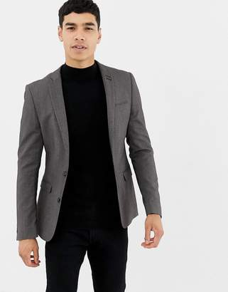 Asos Design Super Skinny Fit Suit Jacket In Salt And Pepper