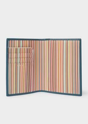 Paul Smith Men's Teal Signature Stripe Interior Leather Passport Cover