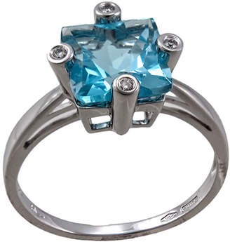 Damiani Bliss By Square 2.11 Blue Topaz & Diamond Ring, Size 7