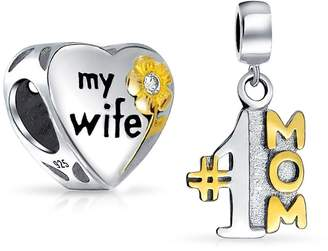 Bling Jewelry Set of Two Heart Shaped Love My Wife Number One Two Tone Charm Bead .925 Sterling Silver