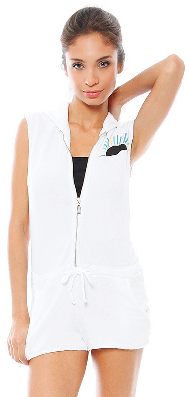Singer22 Day By Day Zip Hooded Romper in White