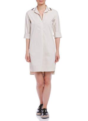STRASBURGO ANTONELLI 配色襟 タック 七分袖シャツドレス オフホワイト 38
