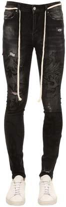 Black Hand Art Cotton Denim Jeans