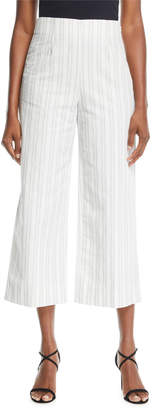 Cropped Striped Cotton/Linen Pants