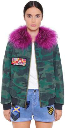 Mr & Mrs Italy Mr&mrs Italy Camo Cotton Bomber W/ Murmasky Fur