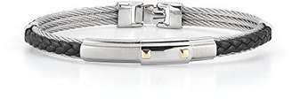 Alor Gentlemen's Cable and Braided Black Leather Bangle Bracelet