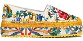 Dolce & Gabbana Printed Jacquard Platform Espadrilles