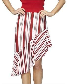 MinkPink Stripe Asymmetric Midi Skirt