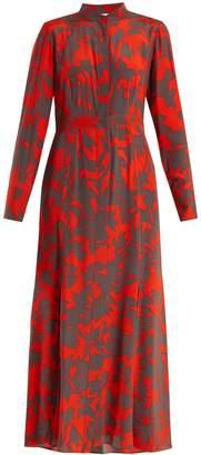 Diane von Furstenberg Stand-collar silk crepe de Chine dress