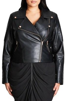 Plus Size Women's City Chic Faux Leather Biker Jacket $129 thestylecure.com
