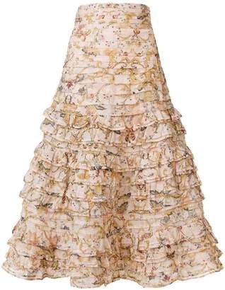 Zimmermann floral ruffle skirt