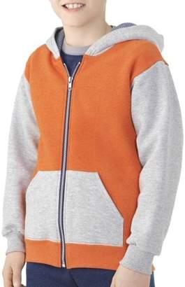 Fruit of the Loom Boys' Explorer Fleece Super Soft Zip Hoodie with Contrast Sleeves