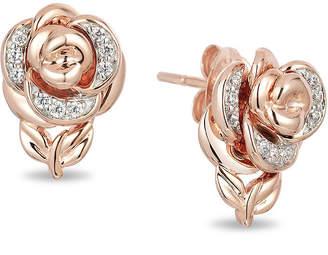 Zales Enchanted Disney Belle 1/10 CT. T.W. Diamond Rose Stud Earrings in 10K Rose Gold