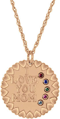 FINE JEWELRY Personalized I Love You Mom Birthstone CZ Pendant Necklace