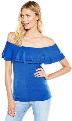 Very Double Layer Frill Neck Bardot Top