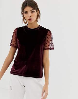 Asos Design DESIGN velvet t-shirt with dobby mesh sleeve