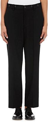 Yohji Yamamoto Women's Button-Trimmed Wool Gabardine Slim Trousers-BLACK $619 thestylecure.com