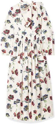 Ulla Johnson Isabeau Pleated Floral-print Cotton-poplin Midi Dress - Ivory