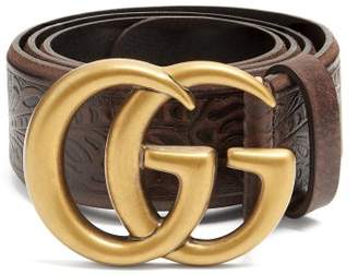 Gucci - Gg Vintage 4cm Leather Belt - Womens - Brown
