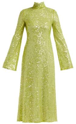 Galvan Oasis Cut Out Sequin Embellished Dress - Womens - Light Green