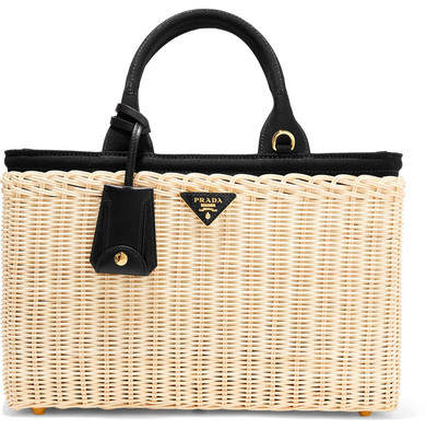 Prada - Midollino Large Leather-trimmed Canvas And Wicker Tote - Beige