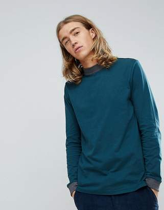 Asos DESIGN Long Sleeve T-Shirt With Chunky Rib In Green