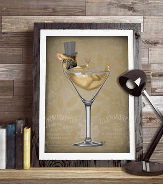 FabFunky Home Decor French Bulldog In Martini Glass, Art Print