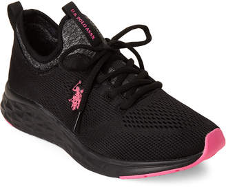 U.S. Polo Assn. Black & Hot Pink Fenn Mesh Low-Top Sneakers