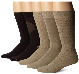 Dockers 5 Pack Classics Dress Dashed Crew Socks