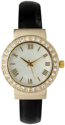 BEIGE OLIVIA PRATT Olivia Pratt Womens Gold-Tone White Dial Leather Strap Watch 14133