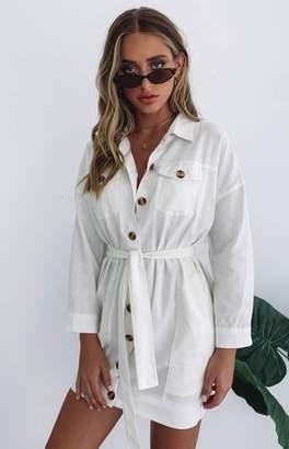 Beginning Boutique Cerys Button Up Shirt Dress White