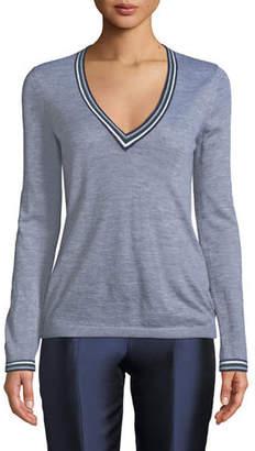 Gabriela Hearst Alba V-Neck Long-Sleeve Cashmere Sweater w/ Striped Trim