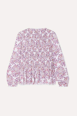 See by Chloe Shirred Printed Crepe Top - Lilac