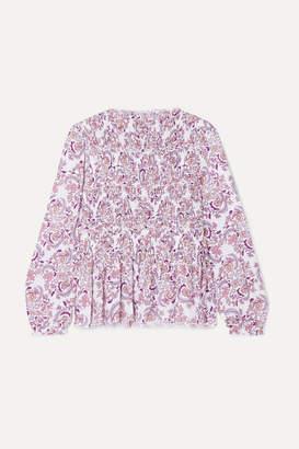 See by Chloe Shirred Printed Crepe Top - Lilac