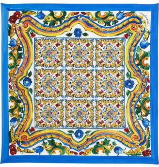 Dolce & Gabbana - Printed Silk-twill Scarf - Yellow $225 thestylecure.com