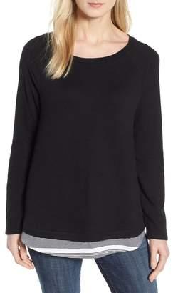 Caslon Button Back Layered Look Sweatshirt (Regular & Petite)