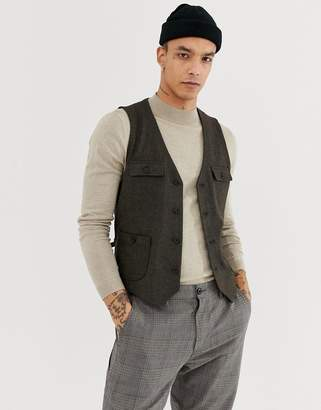Asos DESIGN Skinny Vest In Brown With Button Pockets