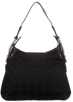 Gucci Horsebit Canvas Shoulder Bag