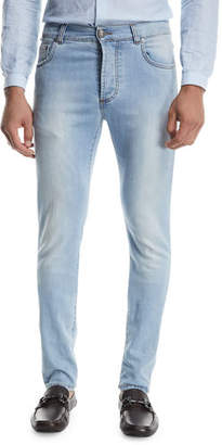 Isaia Light Wash Straight-Leg Jeans