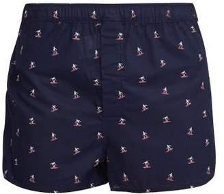 Derek Rose Nelson Surfer Print Cotton Boxer Shorts - Mens - Navy